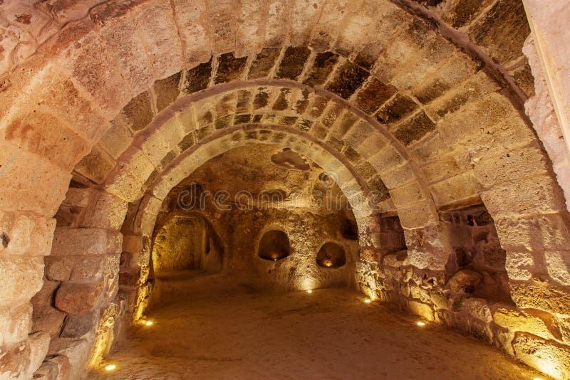 Underjordisk stad i Uchisar royaltyfri bild