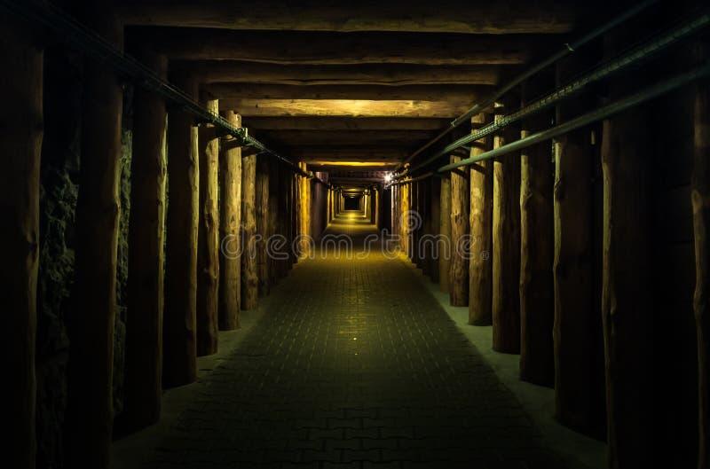 Underjordisk tunel - Wieliczka salt min fotografering för bildbyråer