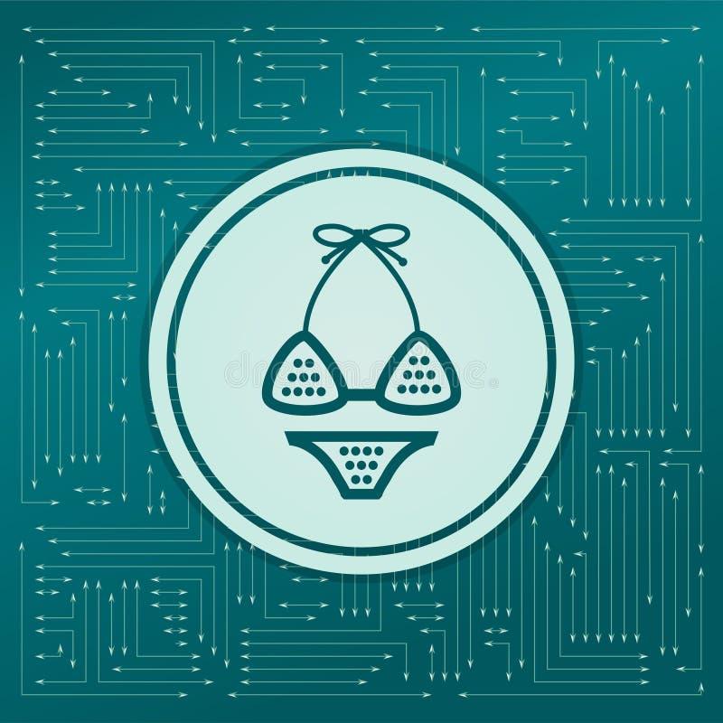 Underkläder bikinisymbol på en grön bakgrund, med pilar i olika riktningar Det visas det elektroniska brädet stock illustrationer