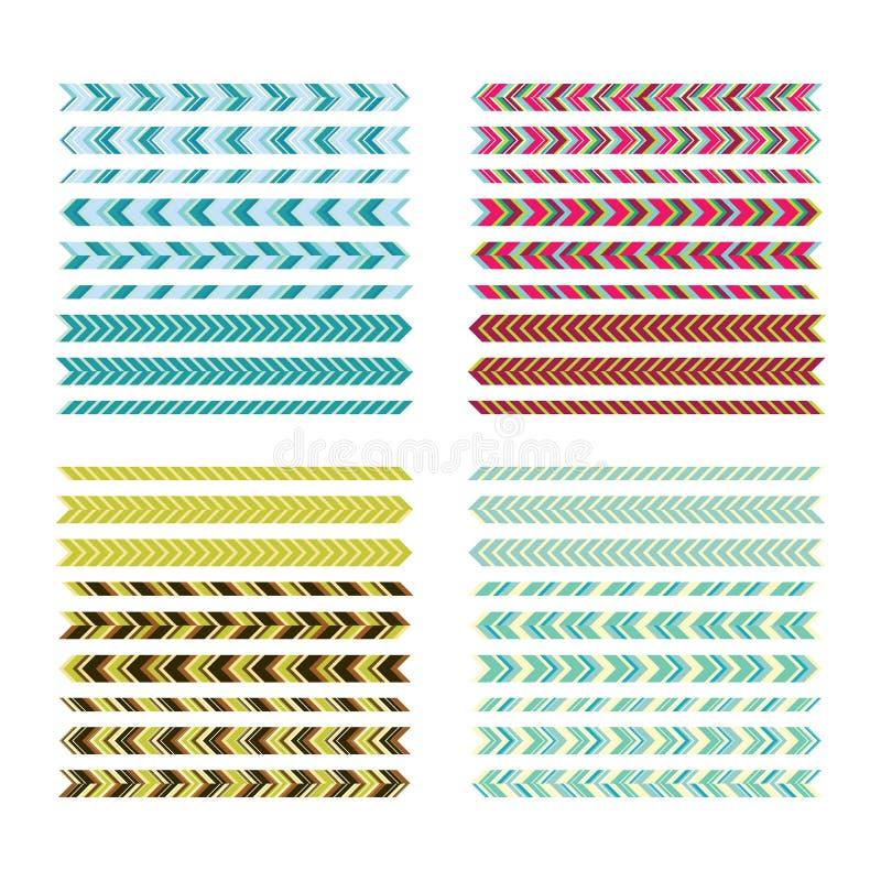 underlines Enkla färglinjer Geometriska dekorativa beståndsdelar f royaltyfri illustrationer