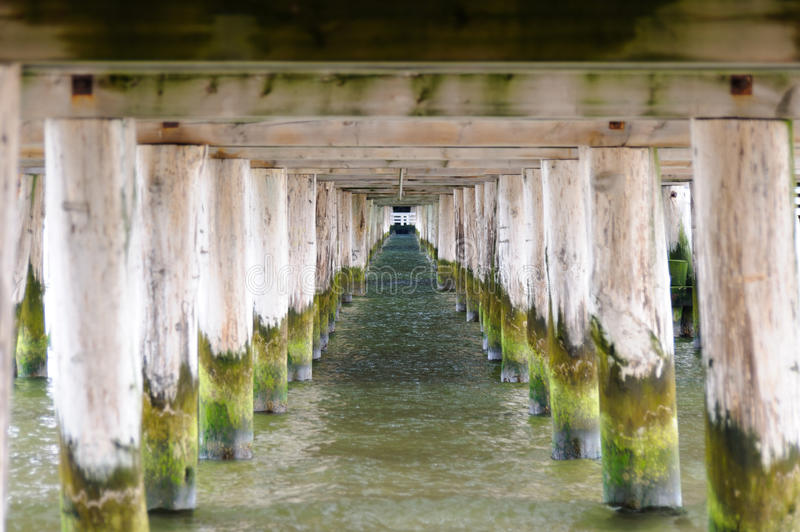 Underneath the Sopot pier stock image