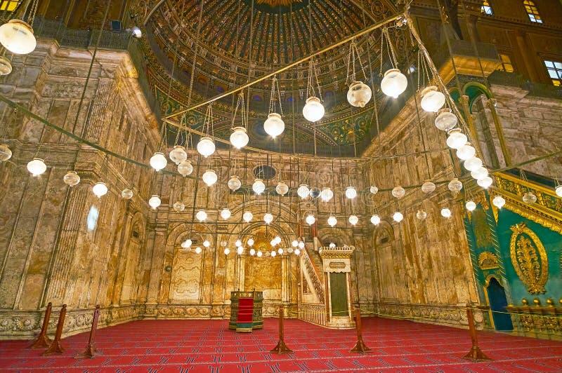 Undersök den alabaster- moskén av Kairocitadellen, Egypten arkivbilder