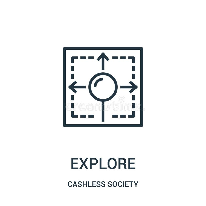 undersök symbolsvektorn från cashless samhällesamling Den tunna linjen undersöker illustrationen för översiktssymbolsvektorn vektor illustrationer