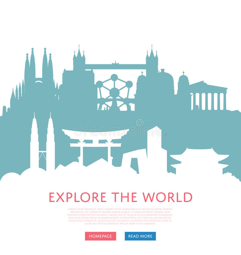 Undersök världsbegreppet med cityscapekonturer stock illustrationer