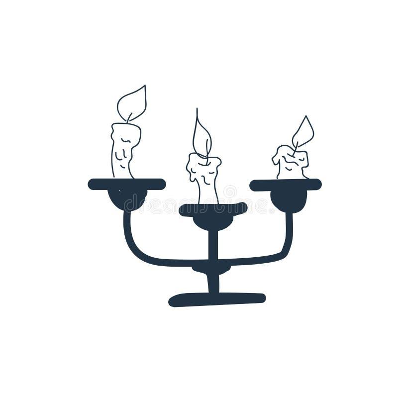 Undersöka symbolsvektorn som isoleras på vit bakgrund, stearinljustecken royaltyfri illustrationer
