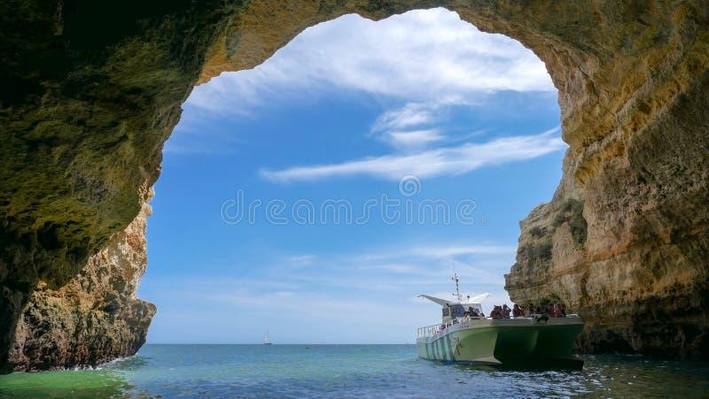 Undersökande grottor för folk på strålfartyget - Portugal arkivfoto