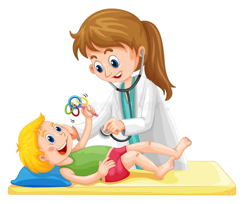Undersökande litet barnpojke för doktor royaltyfri illustrationer