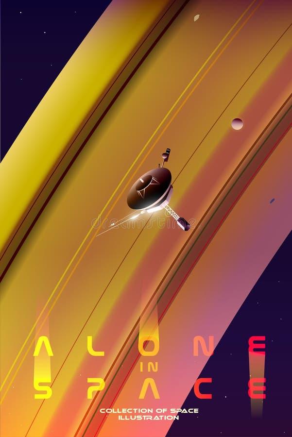 Undersökande utrymme En sond är flyget nära Saturn royaltyfria bilder