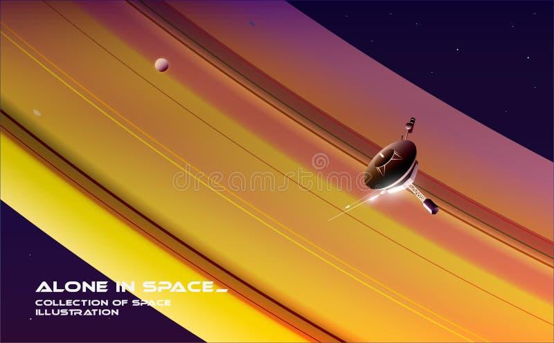 Undersökande utrymme En sond är flyget nära Saturn fotografering för bildbyråer