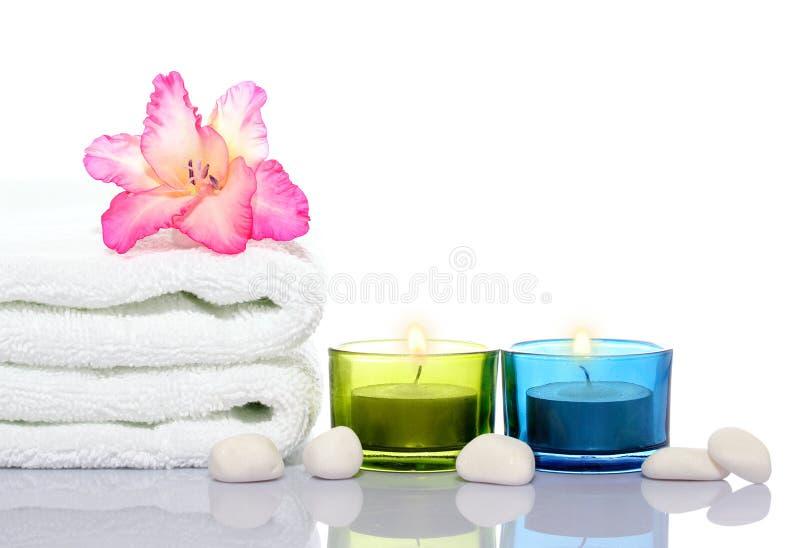 undersöker white för handduk för gladiolaflodstenar arkivfoton