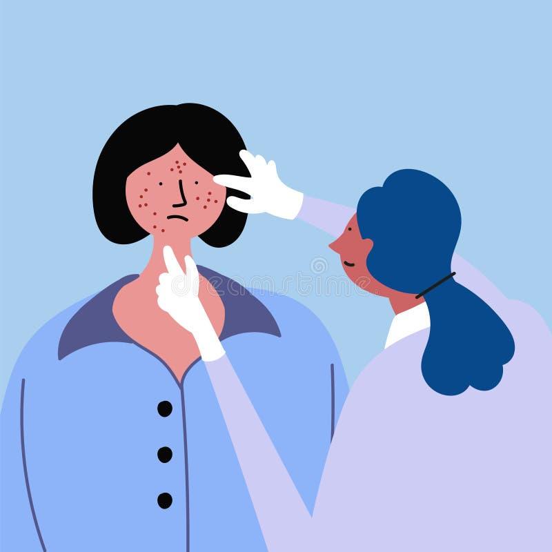 Undersökning av en doktor, en flicka med akne, eksem, psoriasis stock illustrationer
