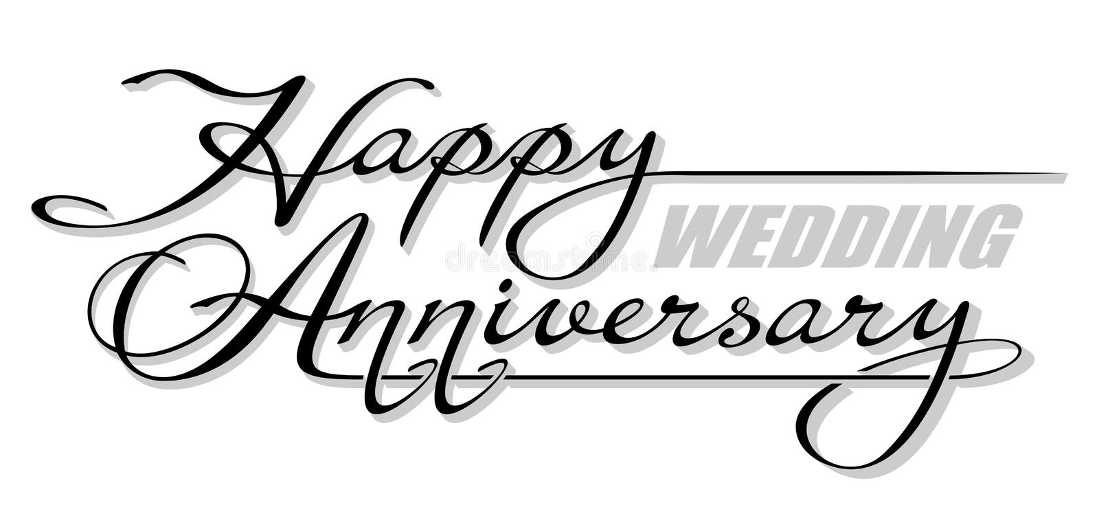 """Underscore handwritten text """"Happy Wedding Anniversary"""" with shadow. Hand drawn calligraphy lettering with copy space vector illustration"""