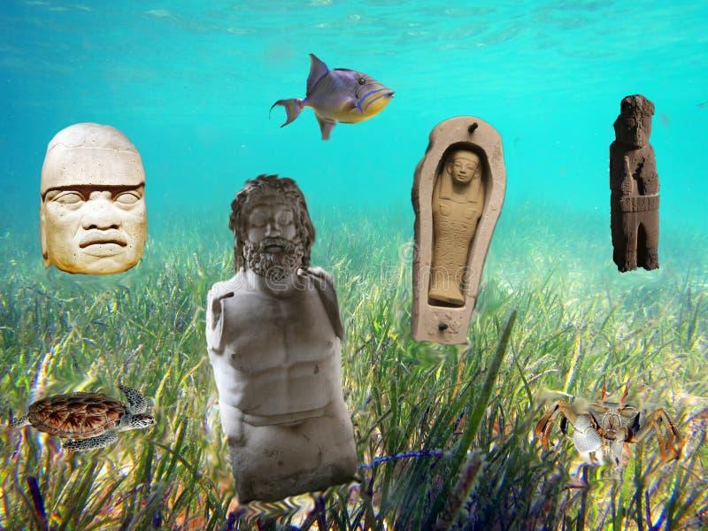 Undersea civilization. A atlantis composition under water stock images