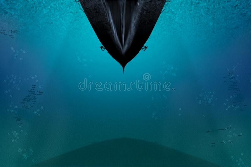Undersea illustration. View from bottom on sip sailing. Cargo transport or cruise vessel fleets with shadows and whirlwinds. Water royalty free stock photos