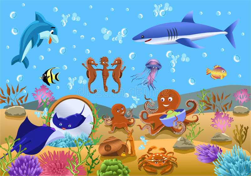 Download Undersea life stock vector. Image of family, shark, seahorse - 32487447