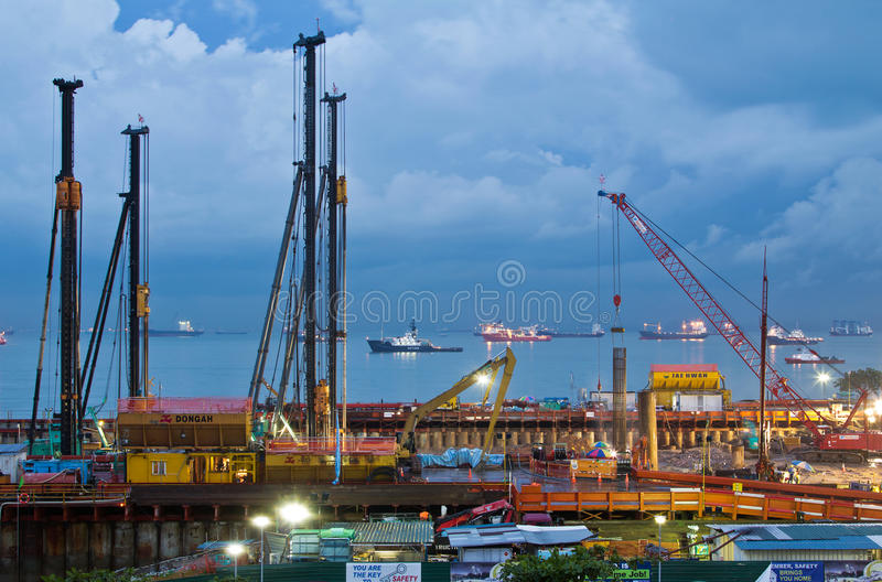 Undersea tunnel construction of the MCE Singapore. Construction of the undersea tunnel portion of the Marina Coastal Expressway continues 24 hours a day, 7 days royalty free stock image