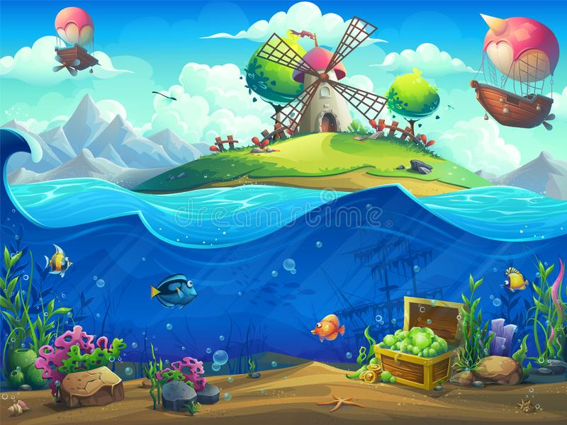 Undersea world with airship on the island vector illustration