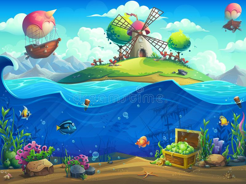 Undersea world with grinder on the island stock illustration