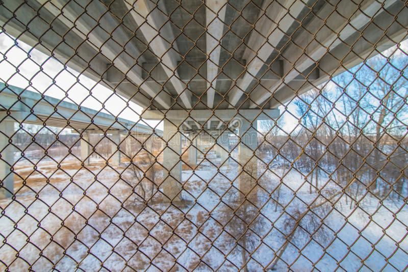 Underside state highway bridge that goes over the Minnesota River south of the Twin Cities - great straight lines and symmetry stock photos