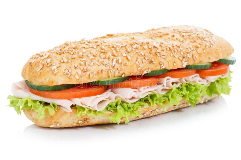 Undersmörgås med för kornkorn för skinka som den hela bagetten isoleras på wh royaltyfria bilder
