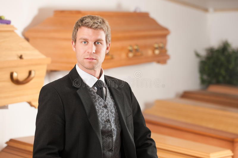 Undertaker in his store royalty free stock image
