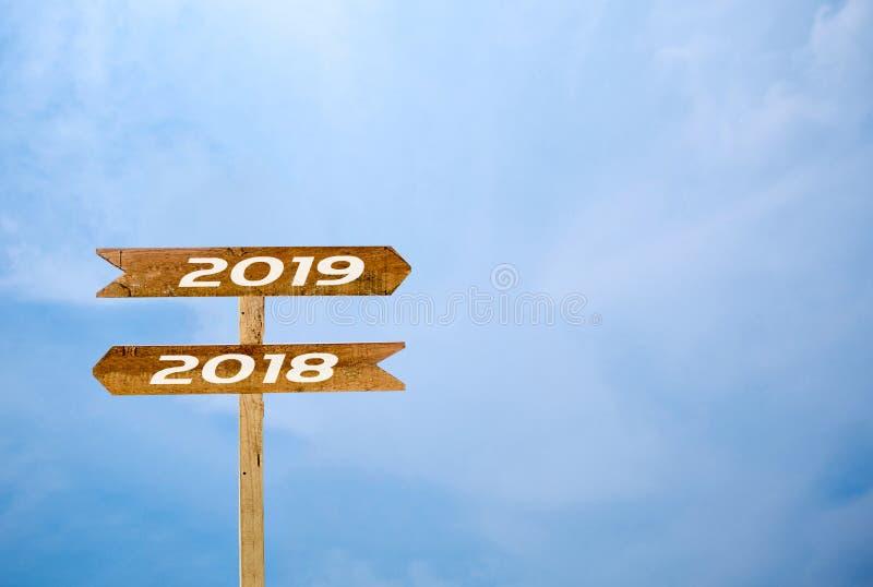 Underteckna banret 2019, bakgrund för blå himmel 2018 royaltyfri foto