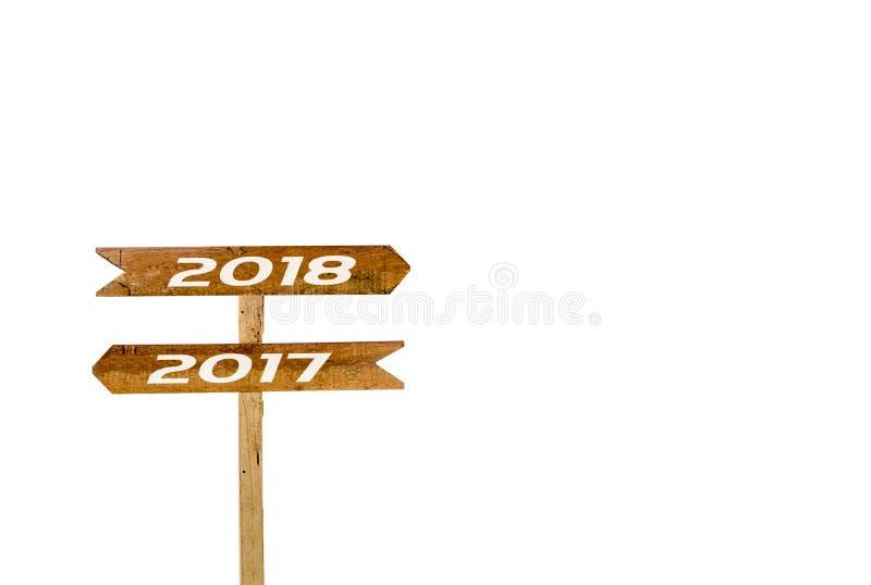 Underteckna banret 2017, 2018 isolerad vit bakgrund arkivbild