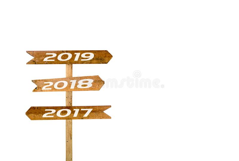 Underteckna banret 2017, 2018, 2019 isolerad vit bakgrund royaltyfria bilder