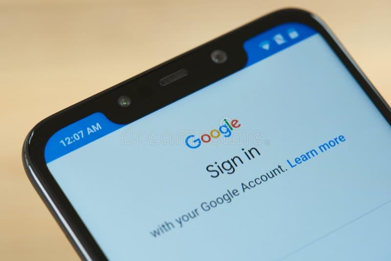 Underteckna in det Google kontot arkivfoto
