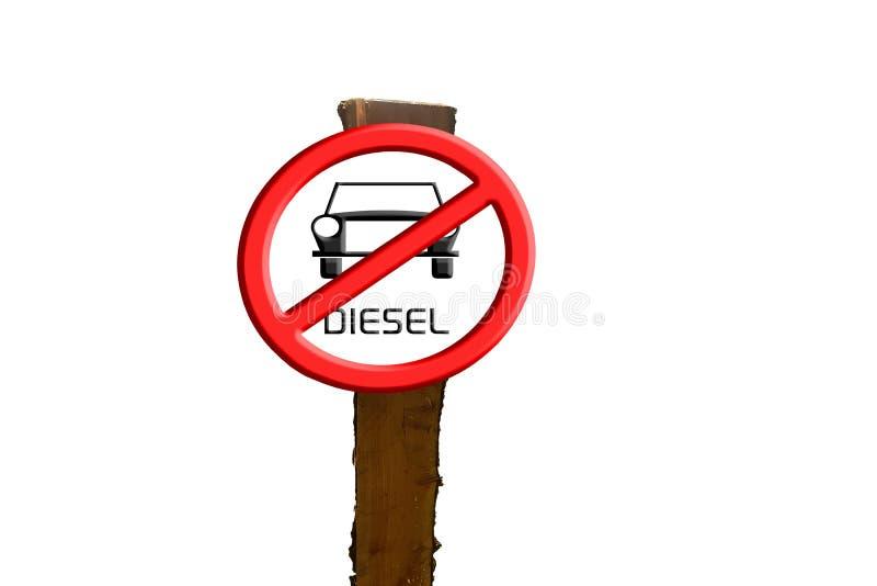 Underteckna diesel- bilar som förbjudas mot blå himmel och solen royaltyfri illustrationer