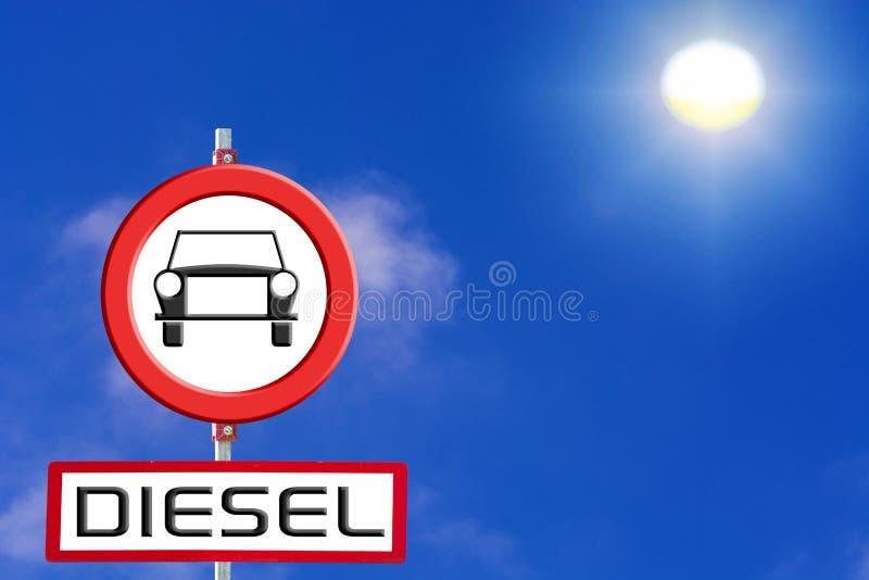 Underteckna diesel- bilar som förbjudas mot blå himmel och solen vektor illustrationer