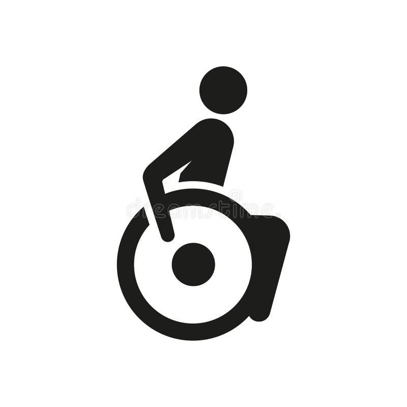 Underteckna en person på en rullstol, ett tecken för beteckningen i en modern stil vektor illustrationer