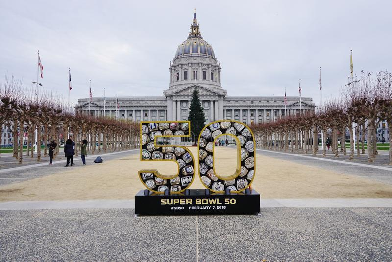 Underteckna för NFL-Super Bowl 50 2016 som ska rymms i Sanen Francisco Bay Area royaltyfri bild