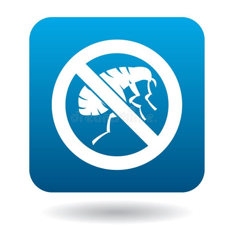 Underteckna förbud av loppasymbolen, enkel stil stock illustrationer