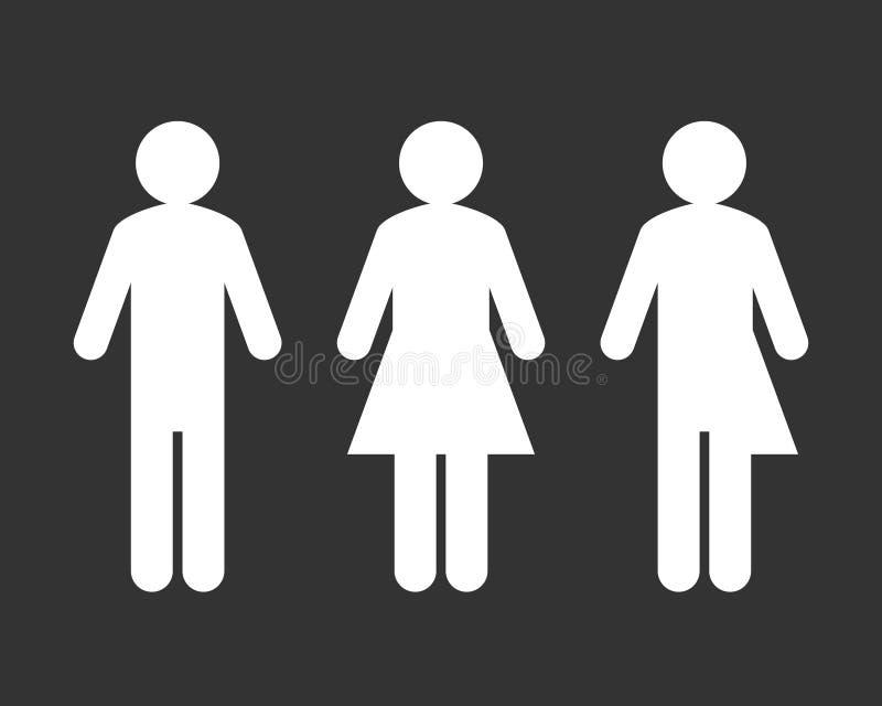 Underteckna med den tredje genuset och könsbestämma stock illustrationer