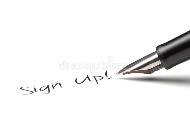 underteckna upp royaltyfri foto