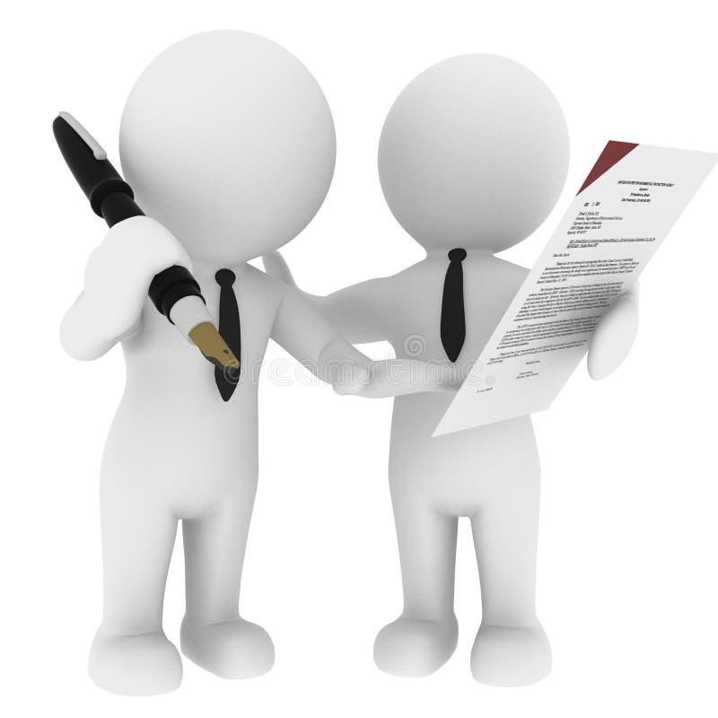 Undertecknande avtal stock illustrationer