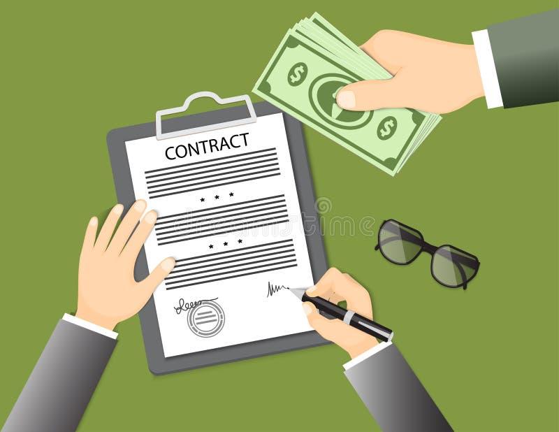 Undertecknande avtal med exponeringsglas och handen som ger sedlar stock illustrationer