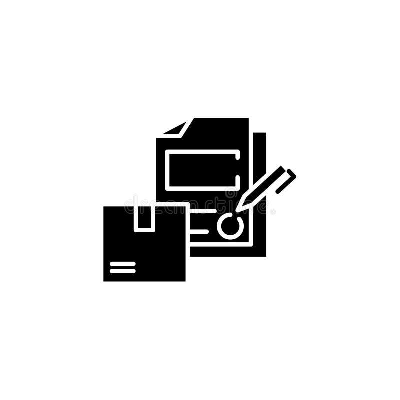 Undertecknande begrepp för symbol för logistikavtalssvart Det undertecknande logistikavtalet sänker vektorsymbolet, tecknet, illu royaltyfri illustrationer