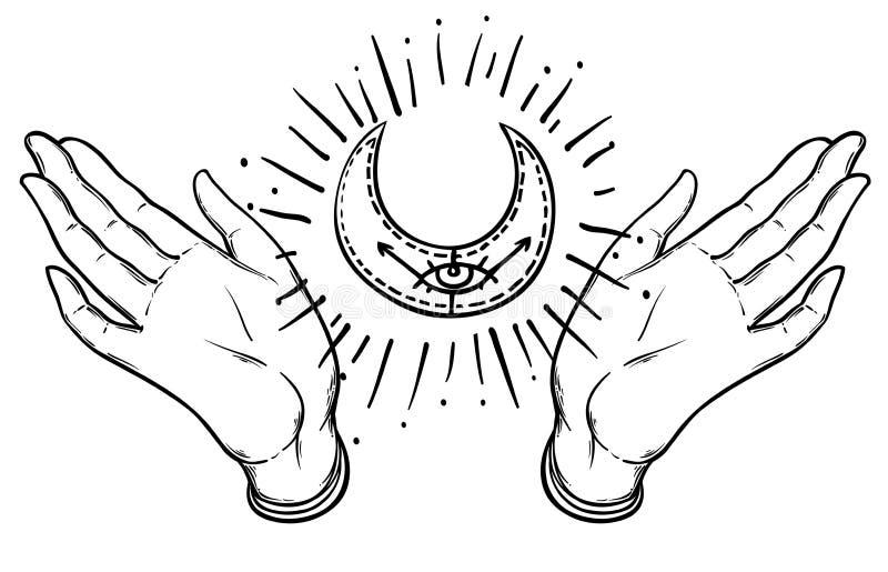 Undertecknar dekorativa be händer för vektor med sakral geometri månen, royaltyfri illustrationer