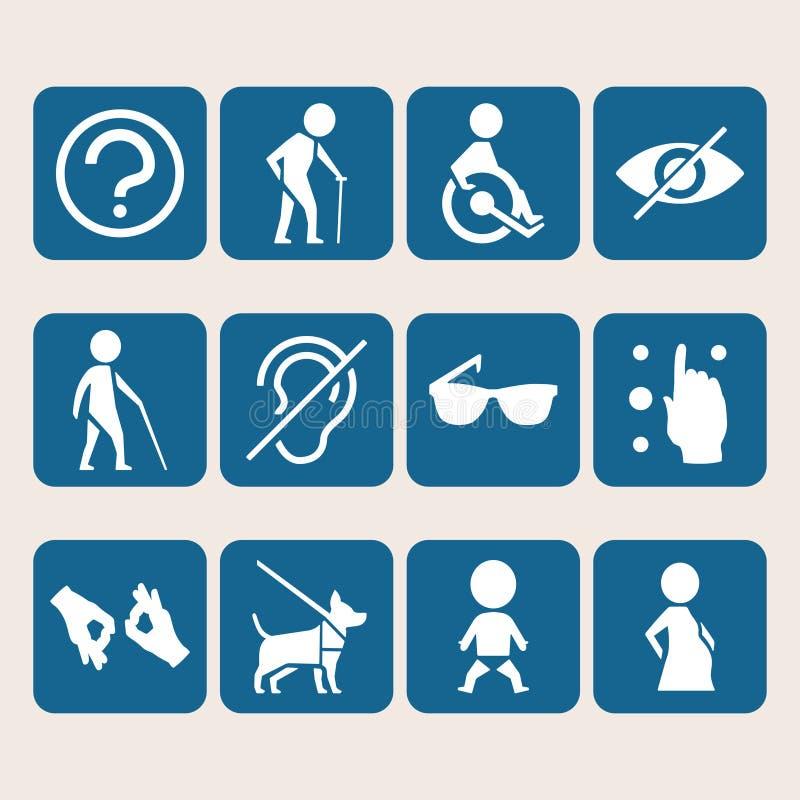 Undertecknar den färgrika symbolsuppsättningen för vektorn av tillträde för fysiskt rörelsehindrat folk vektor illustrationer