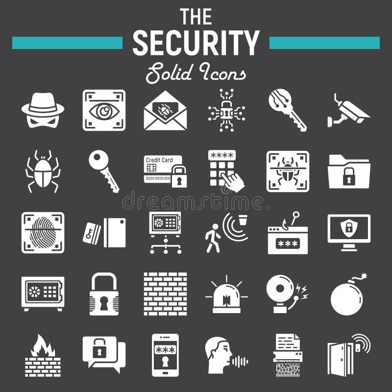 Undertecknar den fasta symbolsuppsättningen för säkerhet, cyberskydd royaltyfri illustrationer