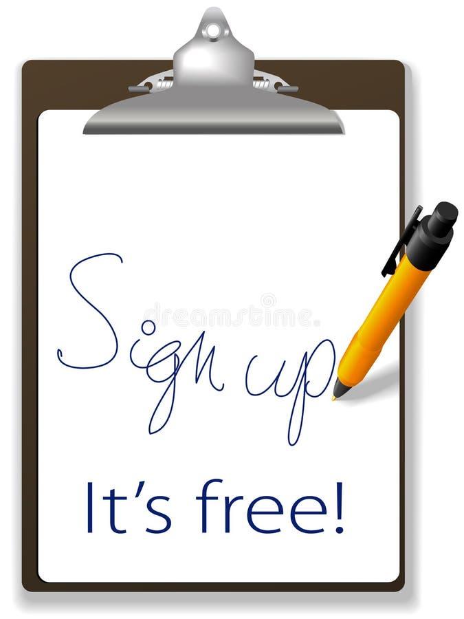undertecknar den fria symbolspennan för clipboarden upp website stock illustrationer
