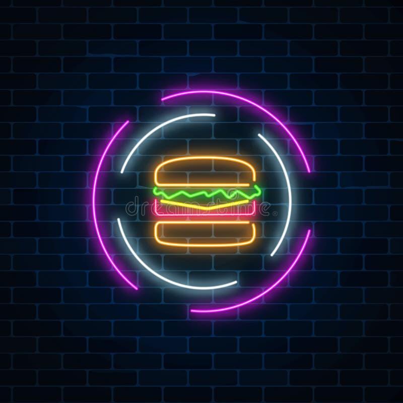 Undertecknar den glödande hamburgaren för neon in cirkelramar på en mörk bakgrund för tegelstenvägg Ljust affischtavlasymbol för  vektor illustrationer