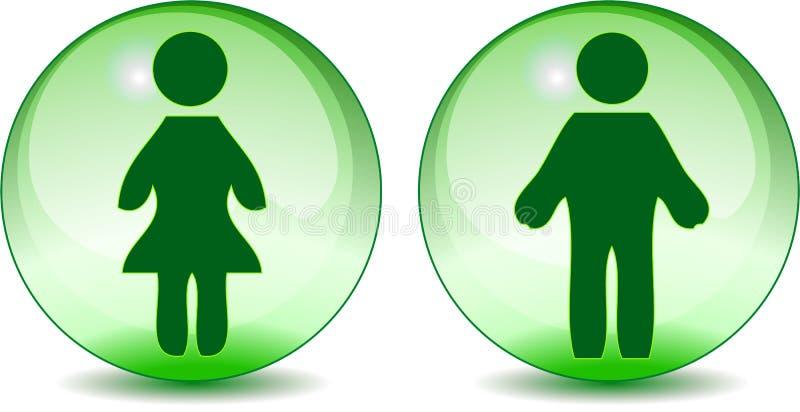 undertecknar den gröna mannen för det glass jordklotet toalettkvinnan stock illustrationer