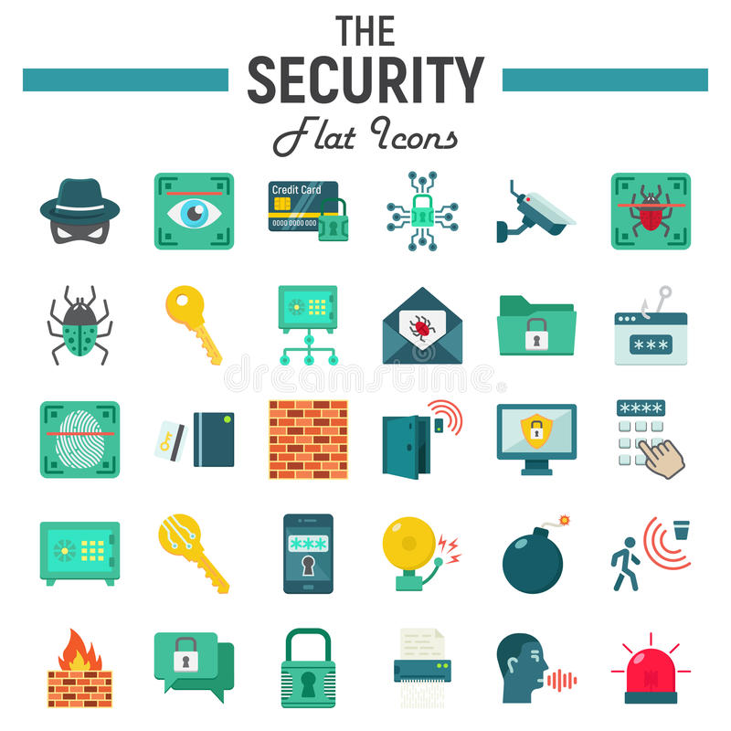 Undertecknar den plana symbolsuppsättningen för säkerhet, cyberskydd stock illustrationer