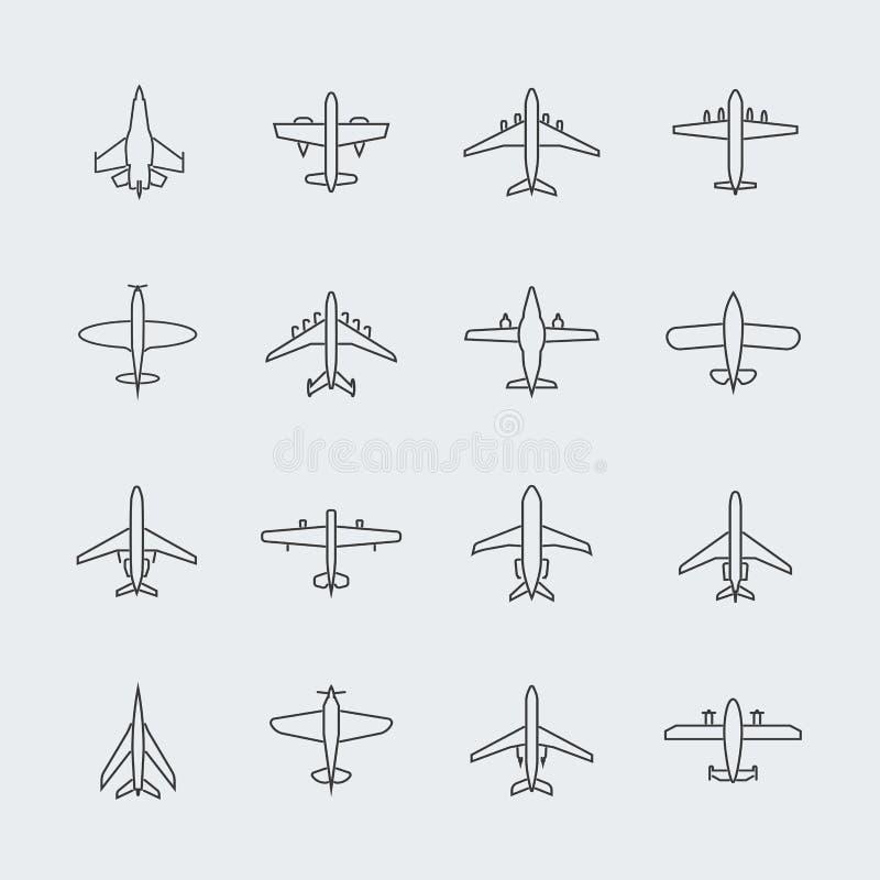 Undertecknar den tunna linjen symboler och linjär flygplannivåvektor för flyg royaltyfri illustrationer