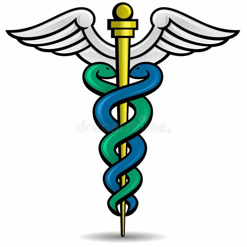Undertecknar det medicinska symbolet för sjukhuset logo stock illustrationer
