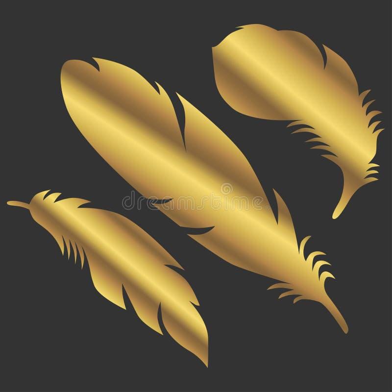 Undertecknar guld- färgfjädrar för konst objektsymbol royaltyfri illustrationer