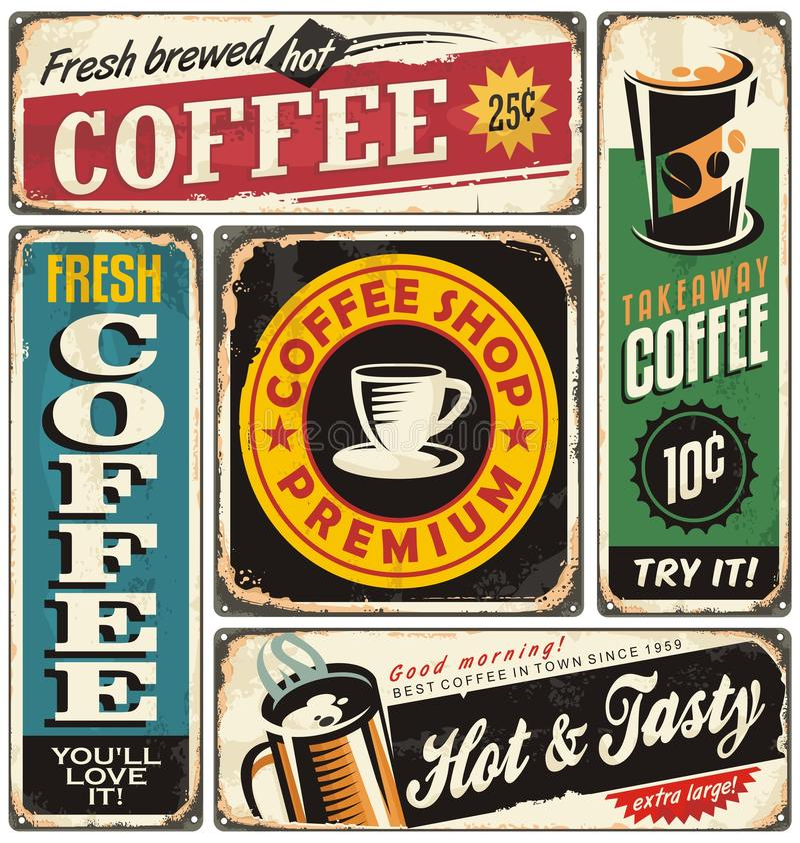 Undertecknar retro metall för coffee shop samlingen royaltyfri illustrationer
